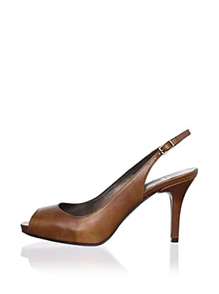 Stuart Weitzman Women's Litely Peep-Toe Slingback (Saddle Old West Calf)