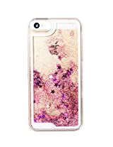 Phoenix Bling Sparkle Glitter Stars Dynamic Liquid Quicksand Clear Hard Case Frame for iPhone 5 5s 5g - Pink