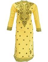 Lucknow Chikan Industry Women's Cotton Straight Kurta (LCI-366, Yellow, S)