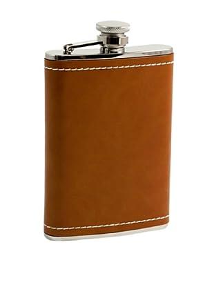 Bey-Berk Saddle Brown Leather Stainless Steel Flask, 8 Oz.