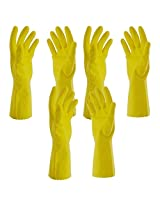 Premier Flocklined Rubber Hand Gloves, Medium, Set of 3 Pairs, Yellow