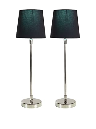 Filament Set of 2 Slim Round Table Lamps with Contrast Shade, Black/Turquoise