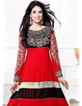 Zarine Khan Kali Designer Red And Black Anarkali Suit