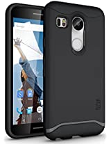 TUDIA Slim-Fit MERGE Dual Layer Protective Case for Nexus 5X [With Microphone Cutout] (2015) (Matte Black)