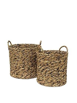 Three Hands Set of 2 Water Hyacin Baskets, Natural