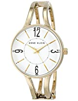 Anne Klein Women's AK/1714WTGB Glossy White Dial Gold-Tone Hinged Bangle Watch