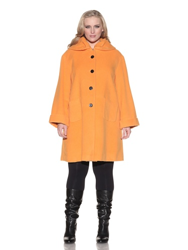 Z from Zenobia Women's Plus Ruched Collar Coat (Carrot)