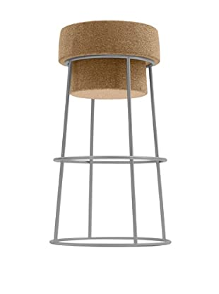 Domitalia Bouchon Bar Stool, Satinated Aluminum