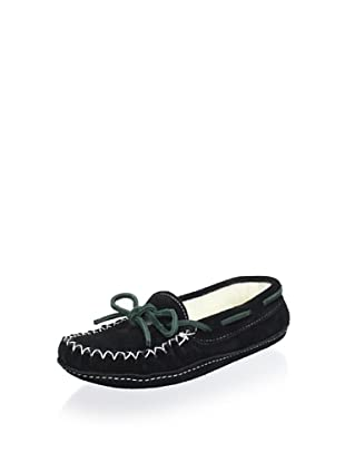 Zerostress Kid's Contrast Lace Suede Slipper (Black)