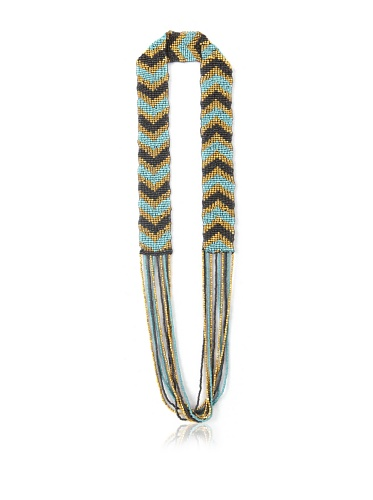 La Croix Rousse Beaded Chevron Necklace, Gold/Turquoise