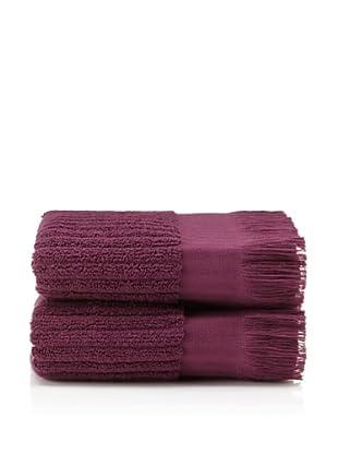 Pure Fiber Set of 2 Ribbed Hand Towels (Plum)