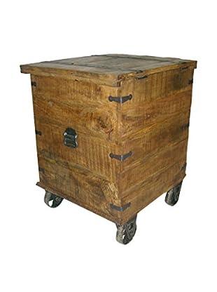 Moti Napa Occasional Box Table On Wheels, Brown