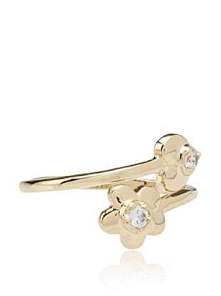 Frida Girl Heart and Flower Cubic Zirconia Ring (Gold)