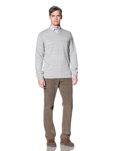 Hickey Freeman Sterling Men's V-Neck Cotton Sweater (Grey Heather)