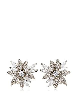CZ by Kenneth Jay Lane Silver Floral Spray CZ Post Earrings