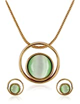 Estelle Gold Plated Necklace Set With Green Color (8254)