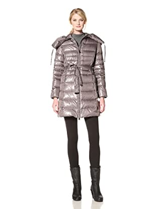 Via Spiga Women's Elma Belted Down Jacket with Pillow Collar (Slate Grey)