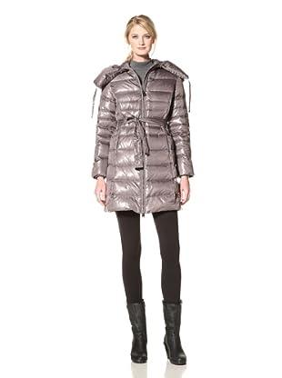 Via Spiga Women's Elma Belted Down Jacket with Pillow Collar (Slate Grey)