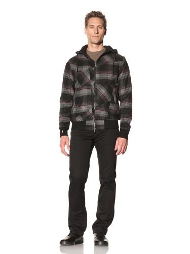 Maharishi Men's Italian Flannel Check Oversized Hoodie (Black/Red)