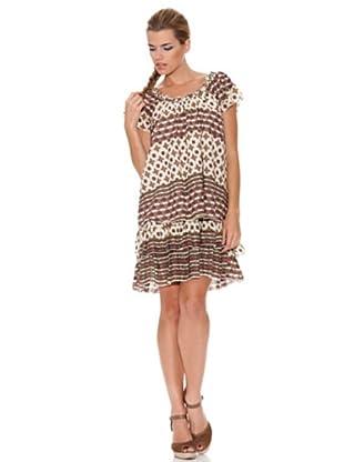 Peace & Love Vestido Estampado (crudo / marrón)