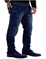 La Mode Men Dark Blue Comfort Fit Jeans(LA00158 30-B_Blue_30 INCH)