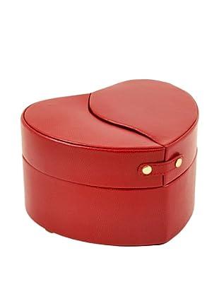 Bey-Berk Heart Shaped Jewelry Box, Red