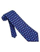 Men's 100% Silk Tie Navy Blue Aviation Airplane Necktie Tie Neckwear