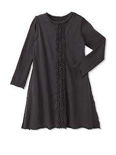 Teres Kids Girl's Vertical Ruffle Dress (Charcoal)