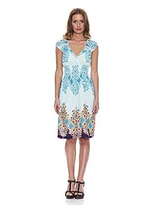 Peace & Love Kleid gemustert (blau / weiß)
