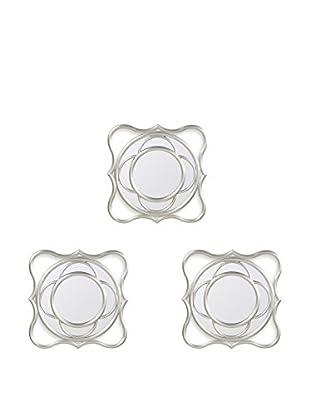 Bombay Company Set of 3 Wave Wall Mirrors, Silver