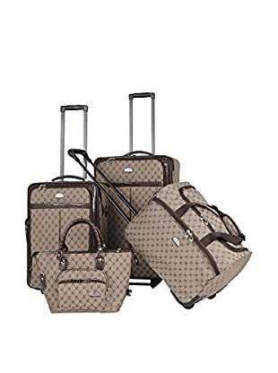 American Flyer 4-Piece Signature Luggage Set, Brown
