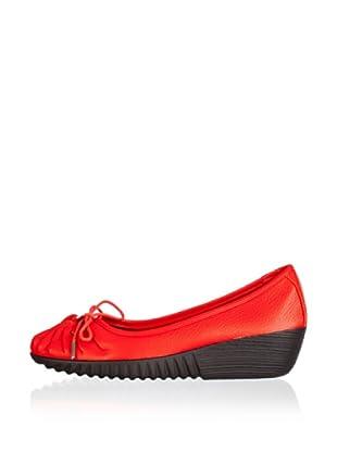 Rockport Bailarinas Cuña Tied (Rojo)