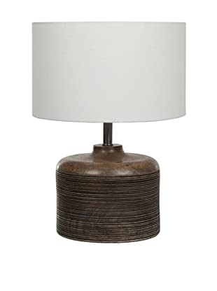 Filament Round Wooden Base Table Lamp, Brown/White