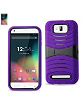 Reiko Silicon Case and Protector Cover with New Kickstand for BLU Studio 5.5 D610A, D610I - Retail Packaging - Purple/Black