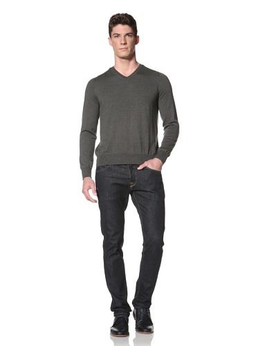 Cullen Men's V-Neck Sweater (Olive)