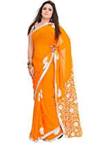 Exotic India Flame-Orange Saree from Punjab with Phulkari Embroidered F - Orange