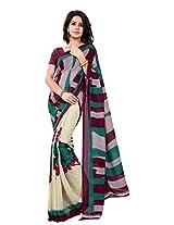 Silk Bazar Women's Faux Georgette Saree with Blouse Piece (Brown & Green)