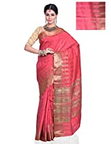 Meghdoot Women's Traditional Art Tussar Silk Saree Pink Colour