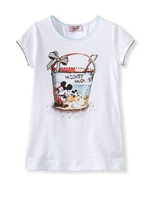Monnalisa Girl's Mickey Mouse Tee (White)