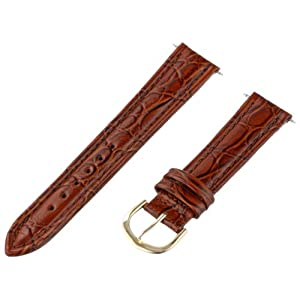 Timex Men's Q7B856 Leather Padded Crocodile Grain 18mm Brown Replacement Watchband