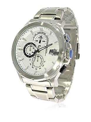 Pit Lane Uhr mit Miyota Uhrwerk Pl-1015-2 silberfarben 45 mm