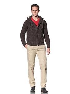 Cruciani Men's Knit Hoodie (Brown)