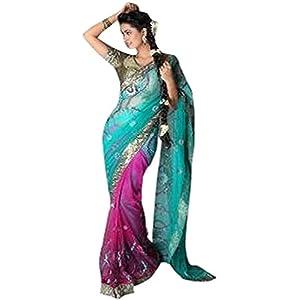 Elegant Net Dual Colour Saree By Aakriti