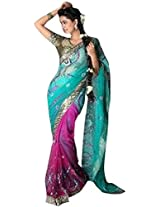 Elegant Net Dual Colour Saree By Aakriti