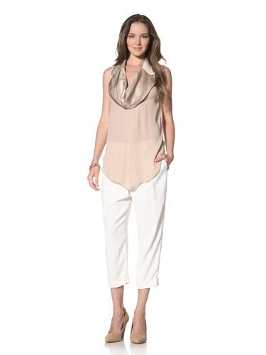 La Fee Verte Women's Tuxedo Collar Top (Blush)