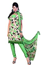 Anvi Creations Green Spun Cotton Dress Meterial (Green_Free Size)