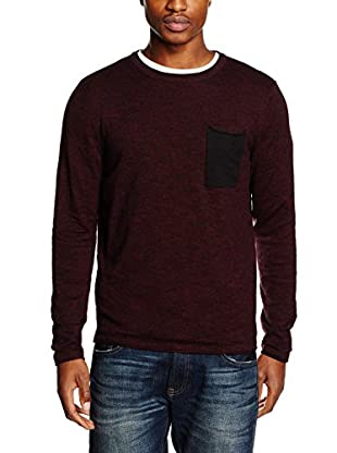 JACK & JONES Herren Pullover Jorflicker Knit Crew Neck, Rot (Port Royale Fit:Knit Fit), Small (Herst