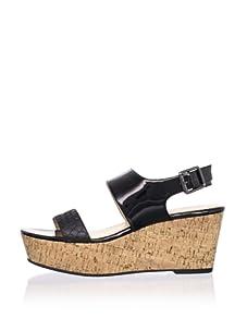 Calvin Klein Women's Lorianne Two-Tone Patent Platform Sandal (Black)