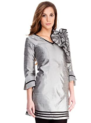 Almatrichi Vestido Volantes (plata)
