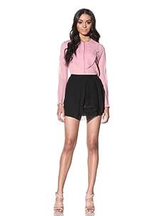 Chloé Women's Mini Skirt with Pleat Detail (Black)